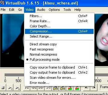 Кодирование видео в два прохода (VirtualDub)